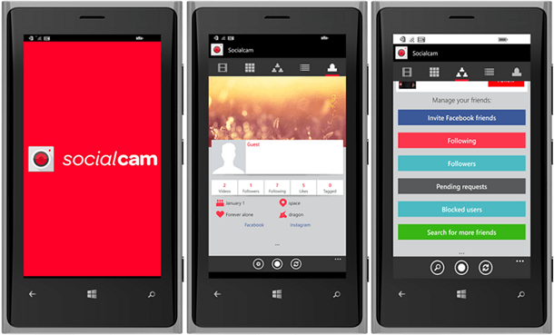 Socialcam Windows Phone