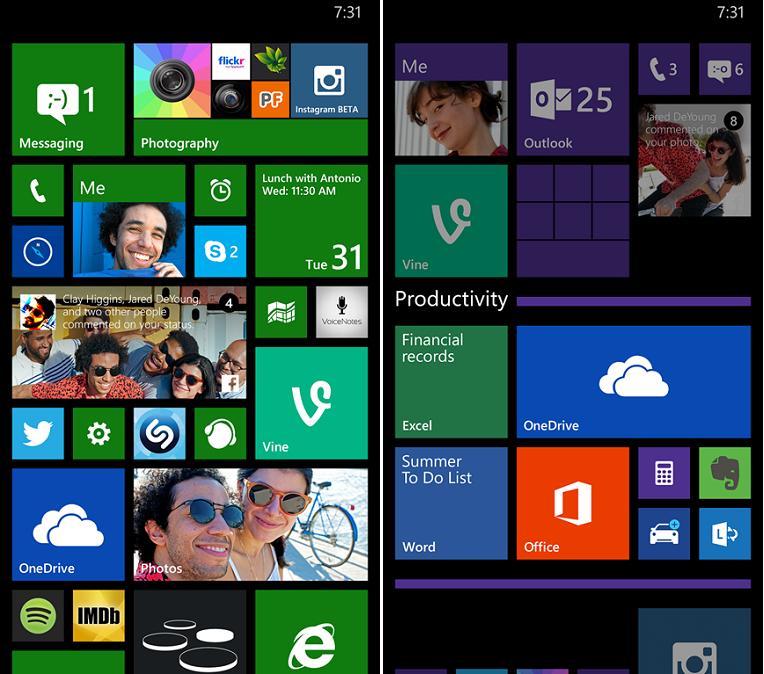 Встроенная возможность для создания папок в Windows Phone 8.1